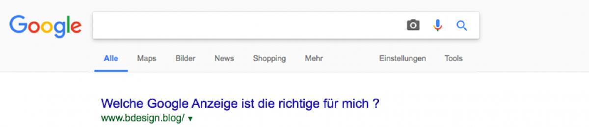 Google Anzeigen Arten
